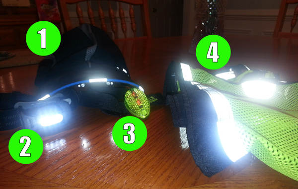 1. Under Armour Hat - 2. Head Lamp - 3. Blinker - 4. Vest