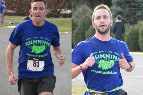 Two Running Dads at the Jingle Bell 5k at Blandy Farm. Me on the left and Alex Lane on the Right.