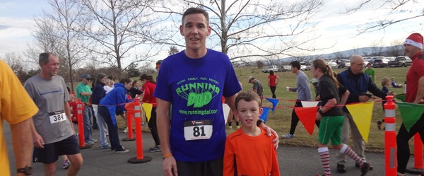 Connor and I at the Jingle Bell 5K at Blandy Farm