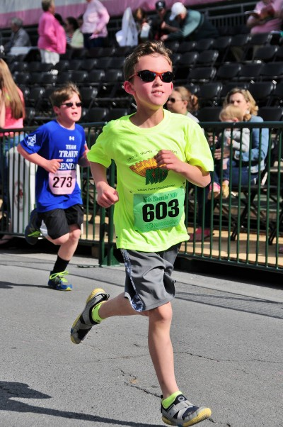 My Running Kid rocking' the Bloomin' Mile