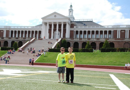 Connor and his buddy Rylan in front of Handley High School