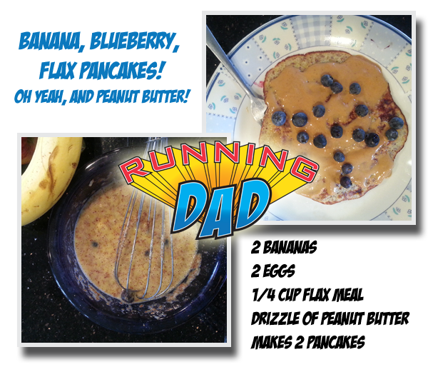 Easy to Make Run Fuel. Banana, Blueberry, Flax Pancakes